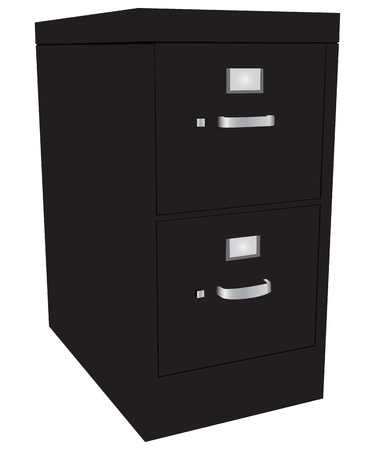 Storage cabinet office files with two drawers. Vector illustration.