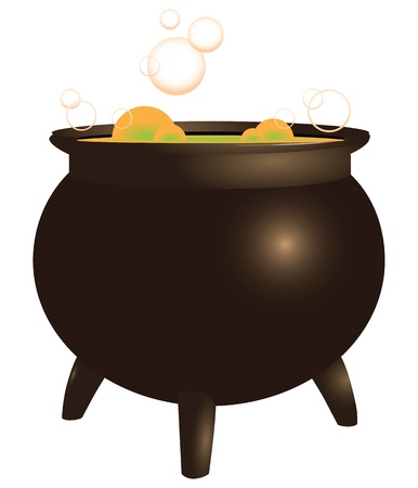 antiquities: Magical brew in the pot old. Boil. Vector illustration.