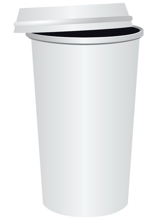 Disposable paper cup for coffee with a lid. Vector illustration.
