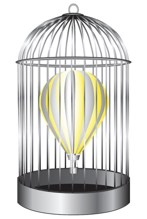 Air balloon in a bird cage. Vector