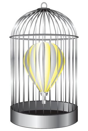 balon: Air balloon in a bird cage. Illustration