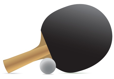table tennis racket and ball. Vector illustration. Çizim