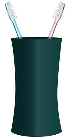 Pink and blue toothbrushes in a glass. Illustration