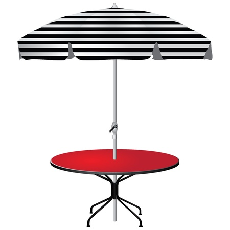 Red coffee table with an umbrella in the black strip. Stock Vector - 17565556