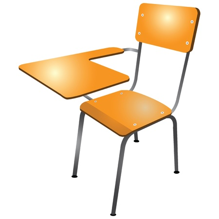 Student chair used in the classroom with the stand. Vectores