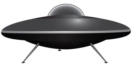 Flying saucer on the outrigger supports. Vectores