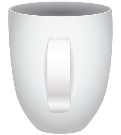 White tea cup with handle for home and cafe. Ilustrace
