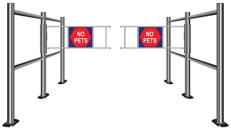 turnstile: Prohibiting passage turnstile with pets. Illustration