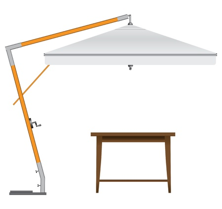 Garden umbrella with a wooden table. Vector