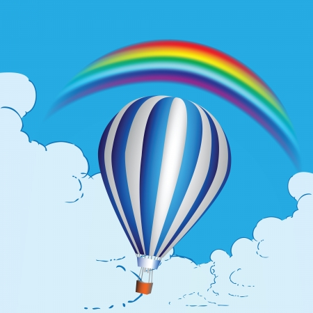 balon: Balloon in the clouds and a rainbow.