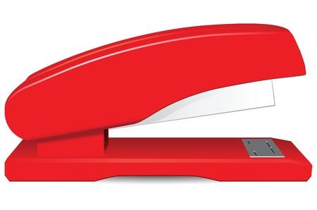 office stapler: Red office stapler for stapling paper.  Illustration