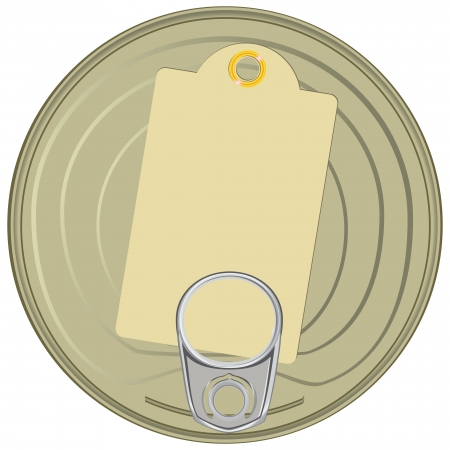 tincan: Lid of the can with a device for opening. Vector illustration.