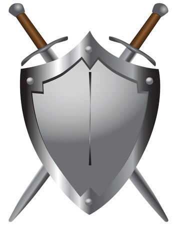 sword fight: A set of double-edged swords medieval shield. Vector illustration.