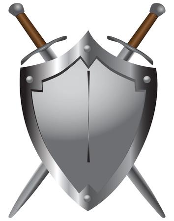 kılıç: Iki ucu keskin kılıç Ortaçağ kalkan bir dizi. Vector illustration.