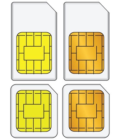 Regular and mini SIM cards for use in mobile communications. Vector illustration. Stock Vector - 17688537
