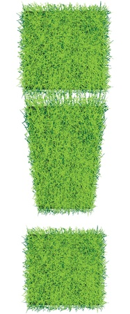 The exclamation point of the squares of grass soil. Vector illustration.