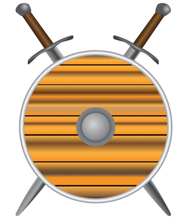 medieval weapons: Round shield with swords. Medieval weapons. Vector illustration. Illustration
