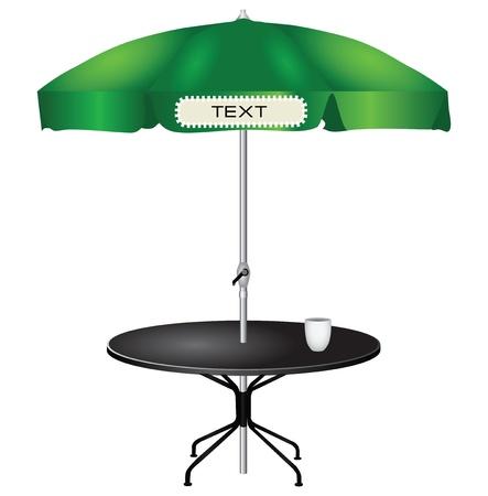 傘の屋外コーヒー テーブル。ベクトル イラスト。