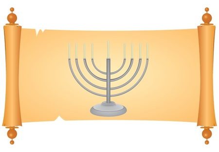 antiquities: Minor on parchment for registration holidays Judaism. Vector illustration.