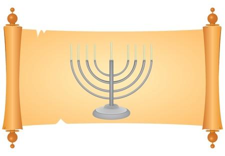 minor: Minor on parchment for registration holidays Judaism. Vector illustration.