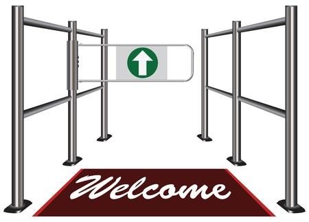 歓迎マットへの招待状と回転式改札口ベクトル イラスト。