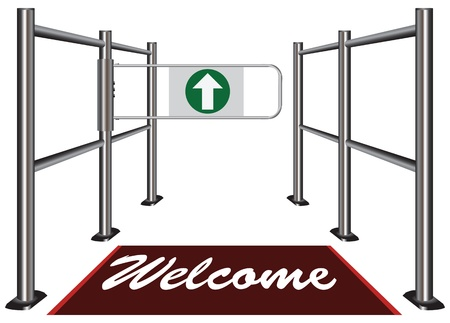 Turnstile with an invitation to the mat Welcome. Vector illustration. Ilustracja