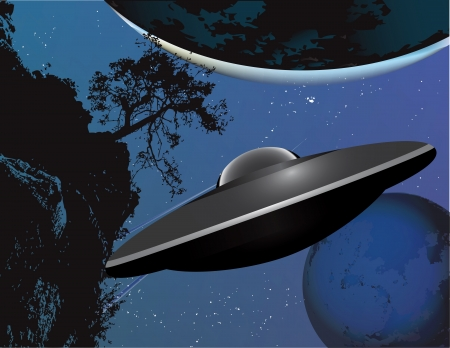Flying saucer moving in to land. Vector illustration.