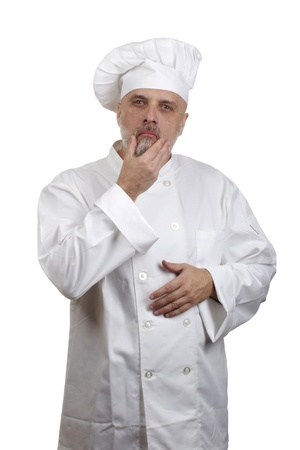 Portrait of a caucasian chef in his uniform on a white background. Stock Photo - 17789513