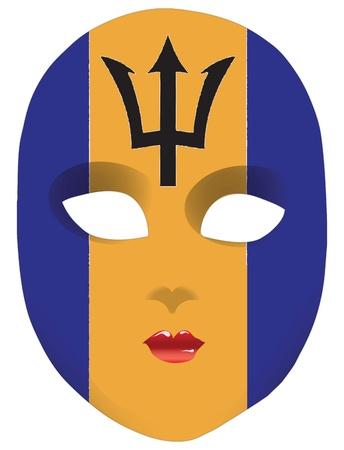 Classic mask with symbols of statehood of Barbados. Vector illustration Illustration