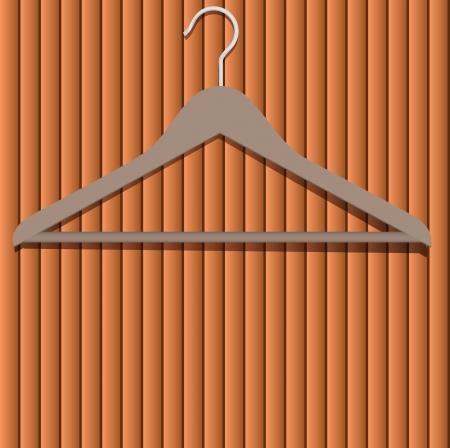 Apparel hanger on a wooden surface. Vector illustration. Vector