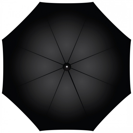 Male black umbrella against the weather. Vector illustration. Vector