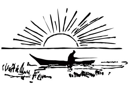 ボートの漁師。太陽が昇る。ベクトル イラスト。  イラスト・ベクター素材