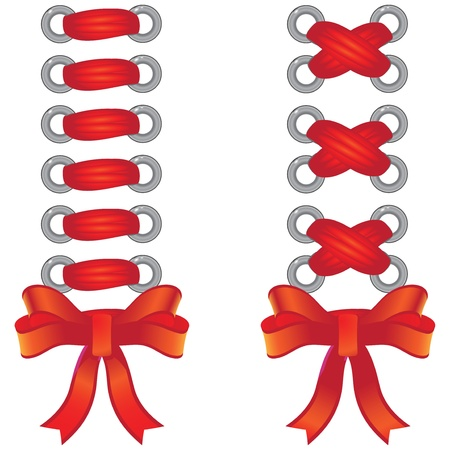 lacing: Two species of the red ribbon lacing. Vector illustration.