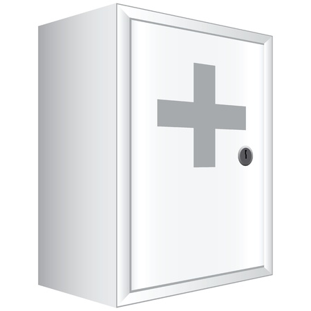 Office first aid kit. White cabinet with lockable door. Vector illustration. Vector