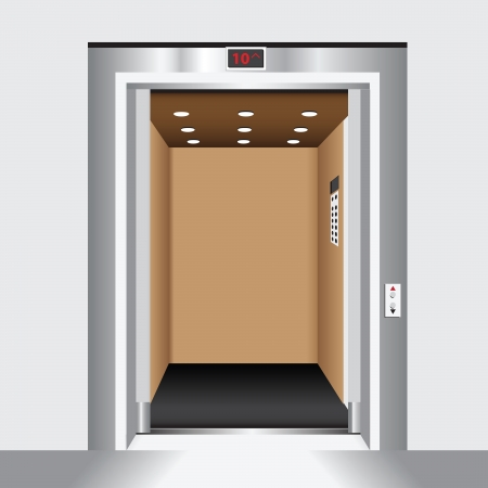 Open door passenger elevator. Housing industry. Vector illustration.