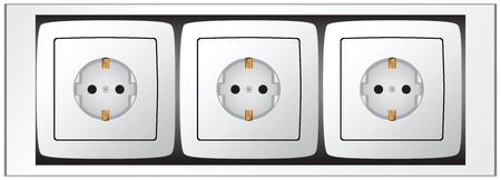 European standard Set of sockets. illustration. Stock Illustratie