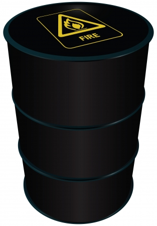 symbol flammable: Flammable symbol on a barrel of fuel oil.  illustration.