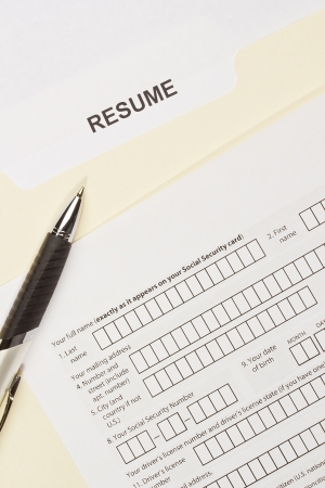 Directly above photograph of a resume title page. Stock Photo - 17954668