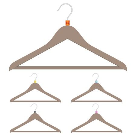 A set of hangers with size clothing. illustration.