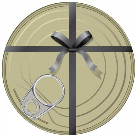 ouvre boite: Cadeau conservateurs envelopp� dans un ruban avec un archet. illustration.