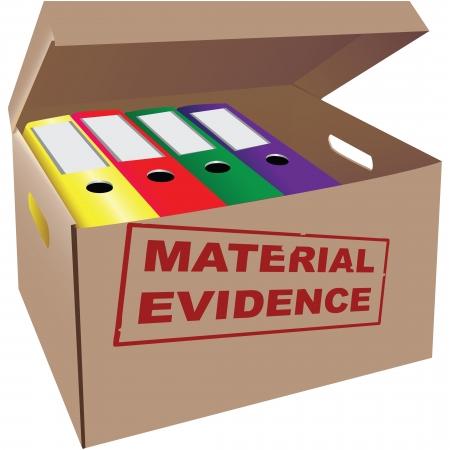 Carpetas con evidencia en una caja de cartón. ilustración.