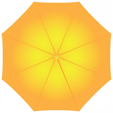 Large female yellow umbrella from the elements. illustration.