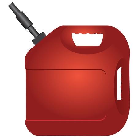 Rode plastic fles met benzine. illustratie.