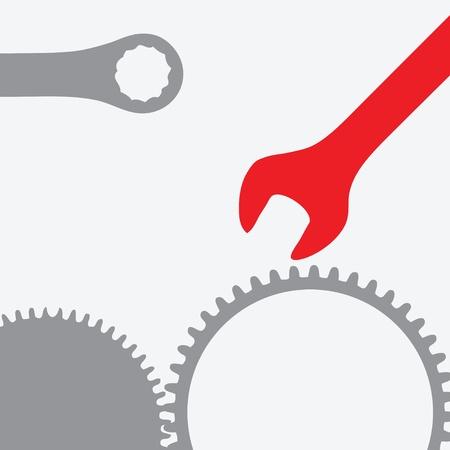 repair shop: Llave con un conjunto de engranajes. Reparar tienda. ilustraci�n.