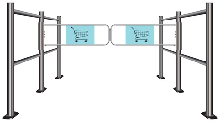 Turnstile to travel with shopping carts illustration. Vector