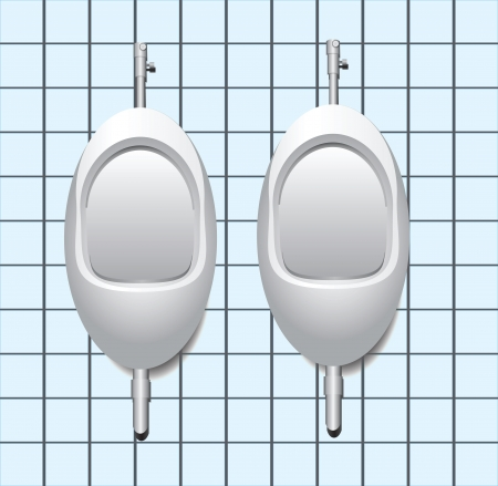 urination: Two male urinal on the tile wall. illustration.