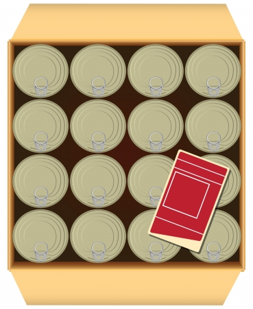canned goods: Label in a box of canned goods.  illustration.