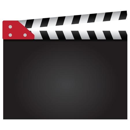 movie clapper: Valvola di film utilizzato nell'industria cinematografica. Sfondo. illustrazione. Vettoriali
