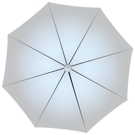 Studio Silver big umbrella as a reflector of light. Vector illustration. Vector