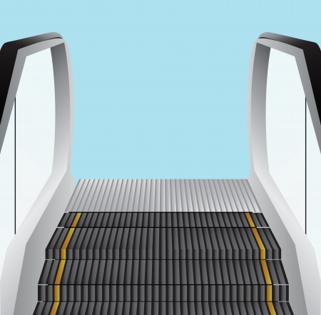 movable: Escalator stairs. Movable stage to transport people between floors. Vector illustration.